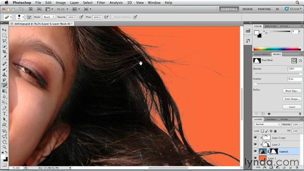 Masking hair with a channel mask and removing contaminant colors: Photoshop for Designers: Color (2012)