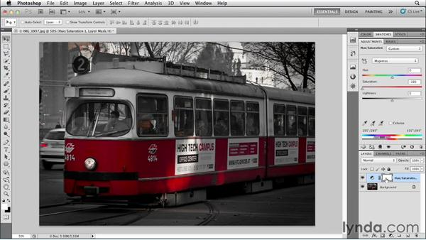Creating a color accent with selective saturation: Photoshop for Designers: Color (2012)