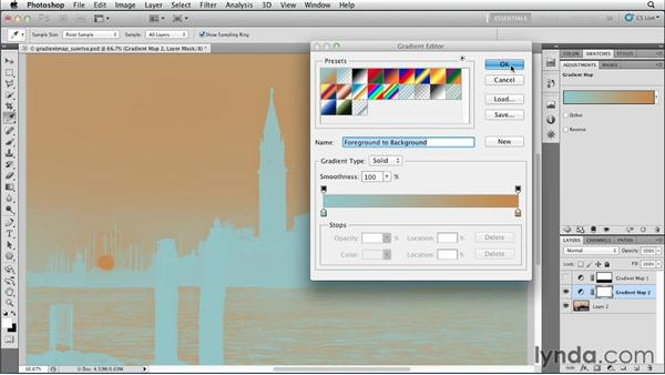 Enhancing a sunrise with a gradient map: Photoshop for Designers: Color