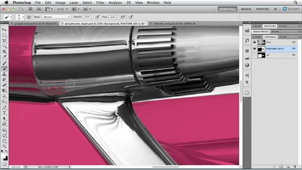 Adding spot colors to a grayscale image: Photoshop for Designers: Color