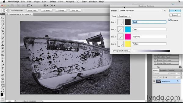 Creating duotones, tritones, and quadtones: Photoshop for Designers: Color (2012)