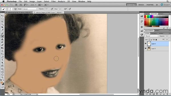 Creating a hand-tinted portrait (the easy way): Photoshop for Designers: Color