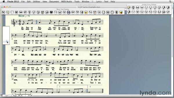 Adding lyrics: Finale 2012 Essential Training