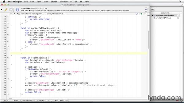 Handling errors: HTML5: Background Processes with Web Workers