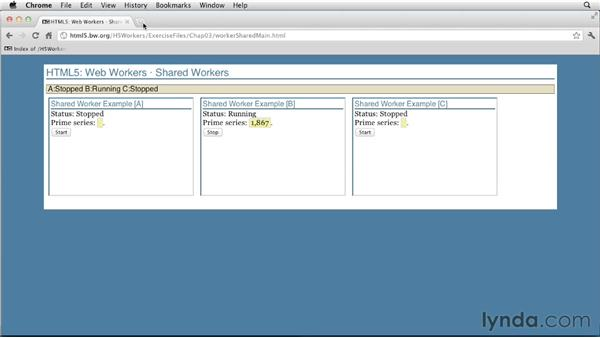 Reviewing a shared workers example: HTML5: Background Processes with Web Workers
