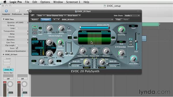 Using the filterbank section to shape the vocoded sounds: Virtual Instruments in Logic Pro