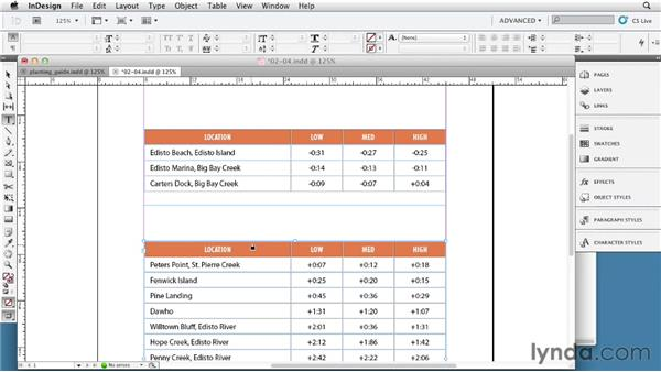 Setting header and footer rows: InDesign Tables In Depth (2012)