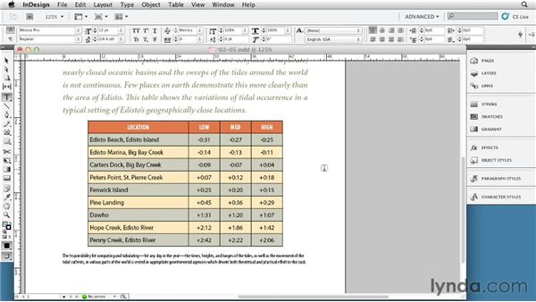 Working with alternating strokes and fills: InDesign Tables In Depth (2012)