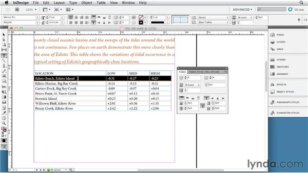 Setting row height and column width: InDesign Tables In Depth (2012)
