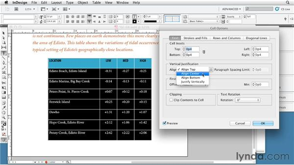 Positioning text in a cell: InDesign Tables In Depth (2012)
