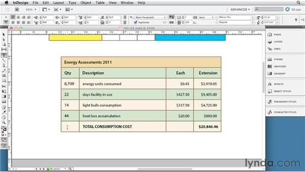 Merging and splitting cells: InDesign Tables In Depth (2012)