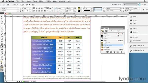 Using gradients in tables: InDesign Tables In Depth (2012)