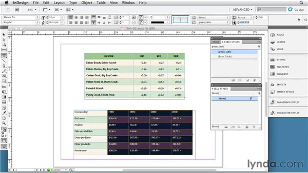 Setting up and applying table styles: InDesign Tables In Depth (2012)