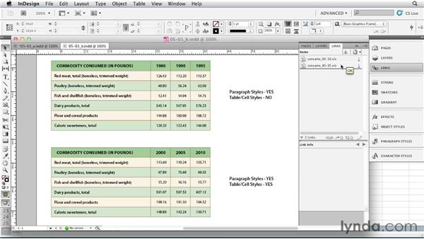 Working with linked files: InDesign Tables In Depth (2012)