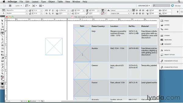 Using graphics frames in tables: InDesign Tables In Depth (2012)