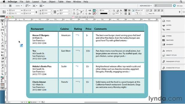 Using shapes to change cell corners: InDesign Tables In Depth (2012)