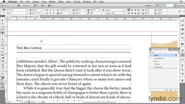 Using text variables: Creating Long Documents with InDesign