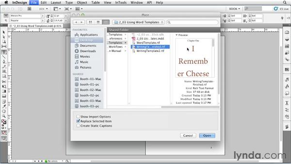 Using Word templates: Creating Long Documents with InDesign
