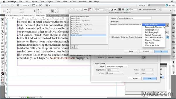 Creating cross-references: Creating Long Documents with InDesign