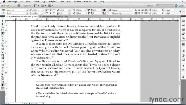 Creating footnotes: Creating Long Documents with InDesign