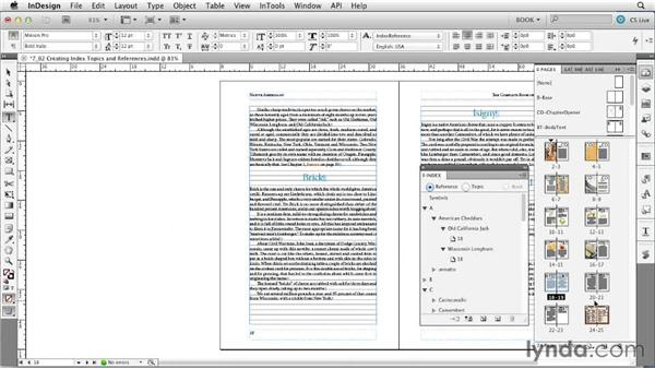 Creating index topics and references: Creating Long Documents with InDesign