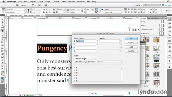 Creating index cross-references: Creating Long Documents with InDesign