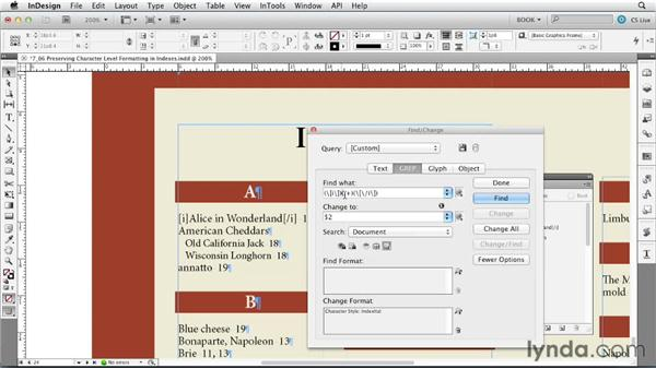 Preserving formatting in an index: Creating Long Documents with InDesign