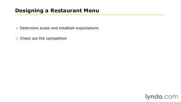 Project brief: Designing a Restaurant Menu