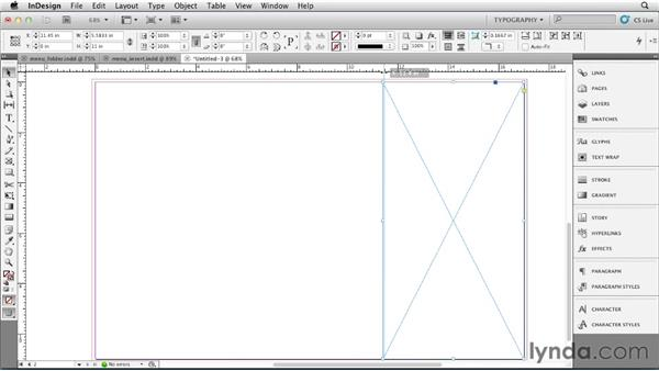 Choosing a format and setting up the folder document: Designing a Restaurant Menu