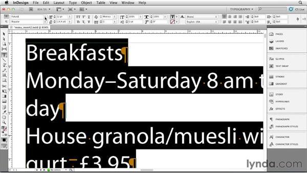 Choosing a typeface: Designing a Restaurant Menu