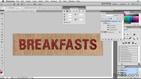Using Photoshop and InDesign's Object Layer Options to add headers: Designing a Restaurant Menu