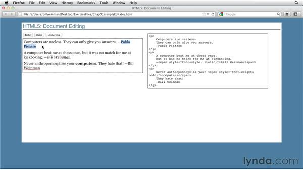 An example application: HTML5: Document Editing in Depth