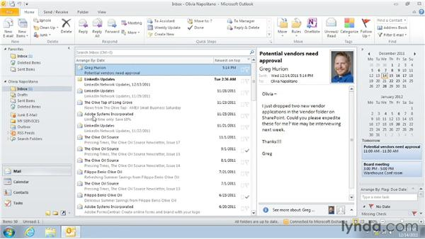 Creating an appointment from an email message or contact: Outlook 2010: Time Management with Calendar and Tasks