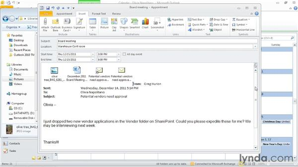 Including files or other content in an appointment: Outlook 2010: Time Management with Calendar and Tasks
