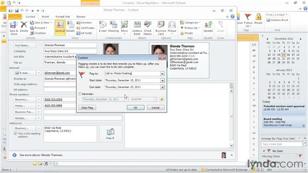 Flagging items for follow-up: Outlook 2010: Time Management with Calendar and Tasks