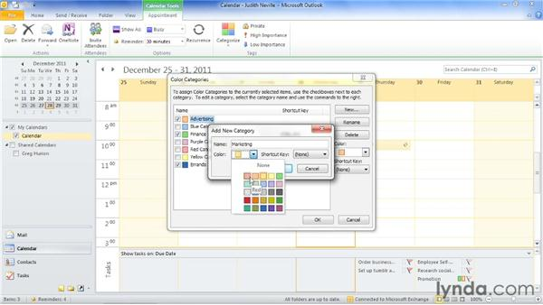 Customizing categories: Outlook 2010: Time Management with Calendar and Tasks
