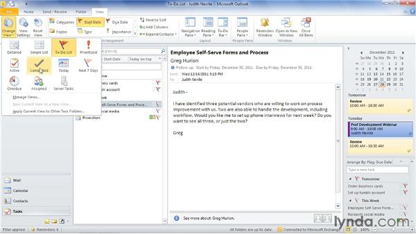 Viewing the task list and to-do list: Outlook 2010: Time Management with Calendar and Tasks