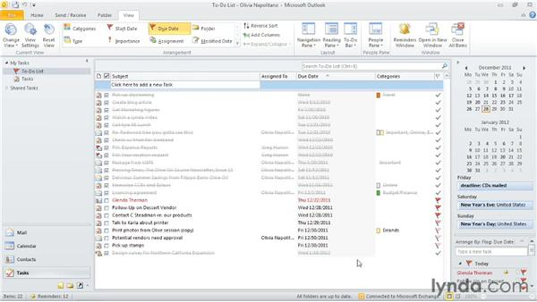 Completing a task and sending an update: Outlook 2010: Time Management with Calendar and Tasks