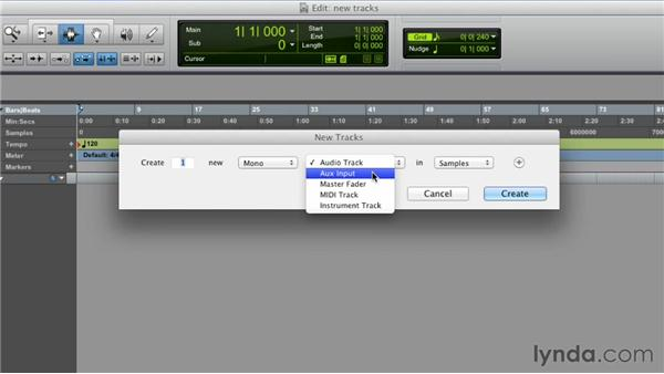 Creating new tracks: Pro Tools 10 Essential Training