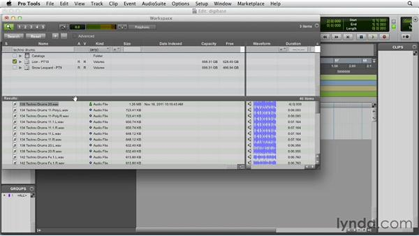 Using DigiBase and the Workspace browser: Pro Tools 10 Essential Training