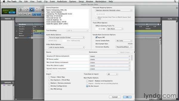 Importing session data: Pro Tools 10 Essential Training