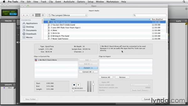 Importing tracks from a CD: Pro Tools 10 Essential Training