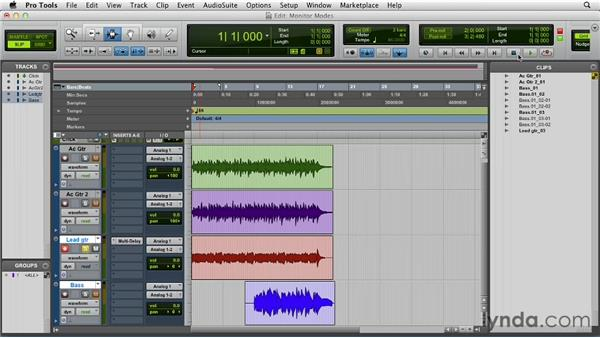 Punch recording and using the monitoring modes: Pro Tools 10 Essential Training