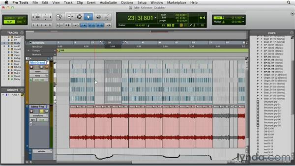 Using the Selector and Grabber tools: Pro Tools 10 Essential Training