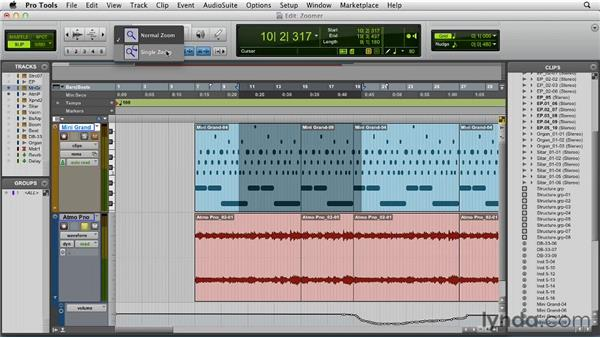 Using the Zoomer tool and zoom presets: Pro Tools 10 Essential Training