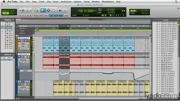 Locking and muting clips: Pro Tools 10 Essential Training