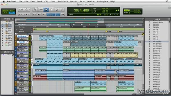 Working with clip groups: Pro Tools 10 Essential Training