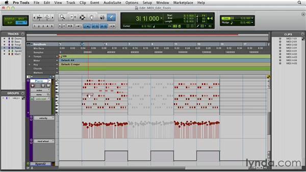 Using the edit tools for editing MIDI data: Pro Tools 10 Essential Training