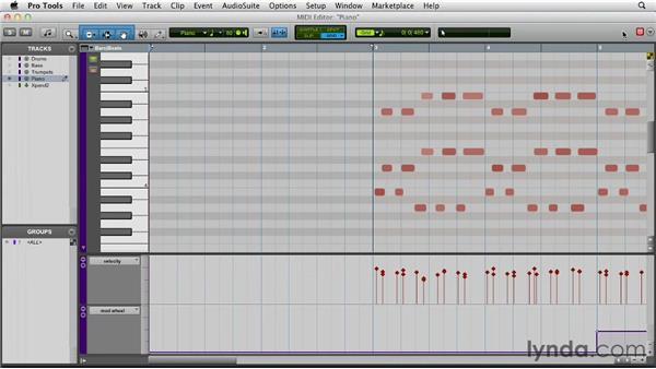 Editing MIDI data in the MIDI Editor