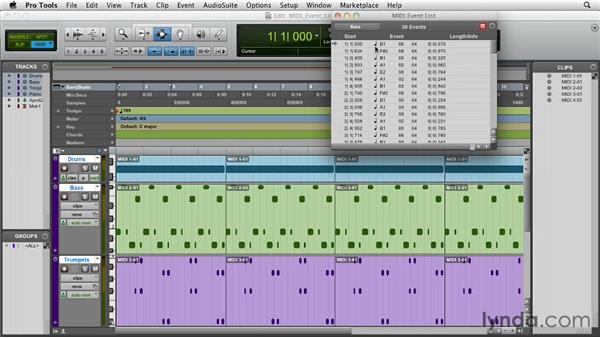 Working with the MIDI Event List: Pro Tools 10 Essential Training